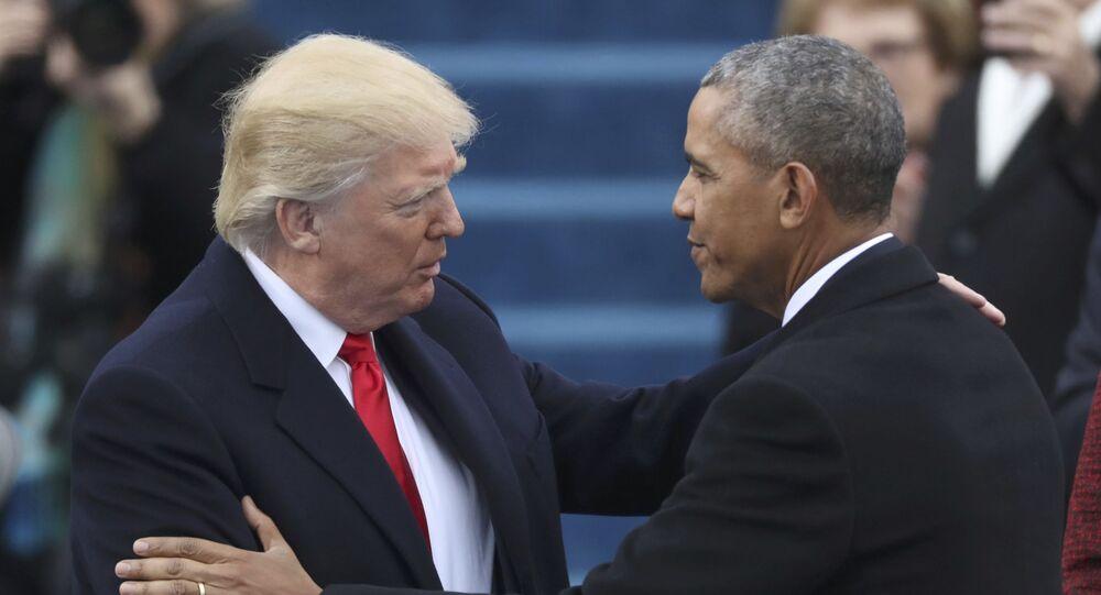 Donald Trump e Barack Obama antes da cerimônia