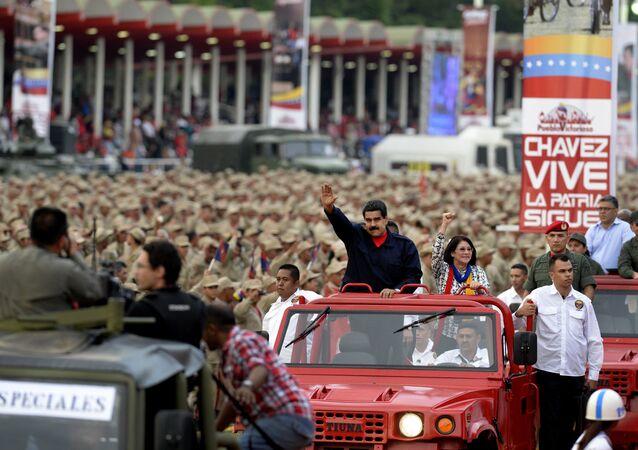 Nicolás Maduro em Caracas no Dia da Milícia Bolivariana