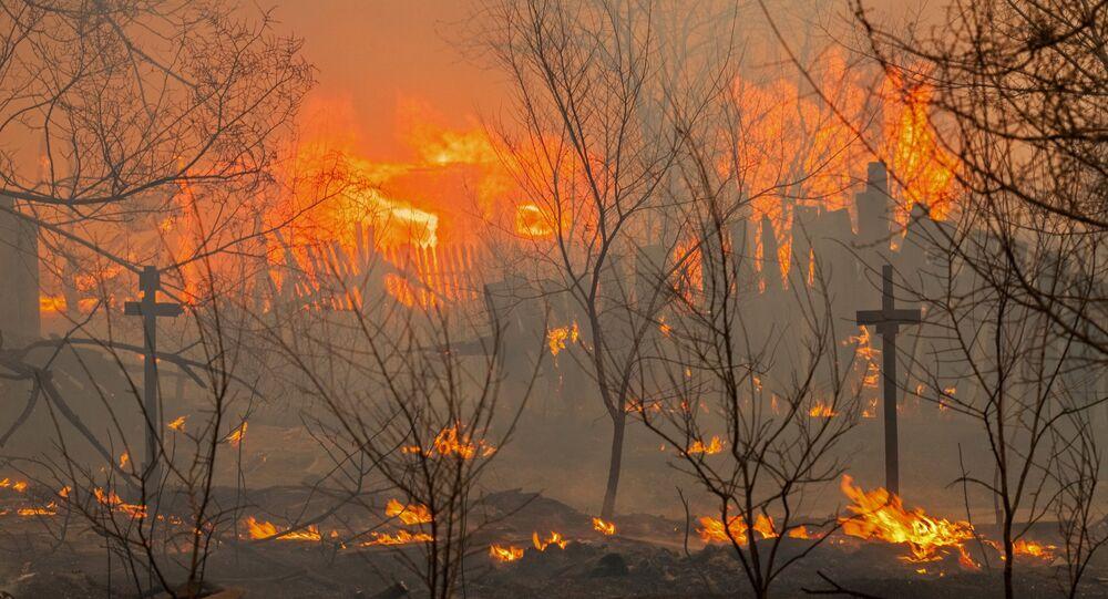Incêndios florestais na república russa da Khakássia