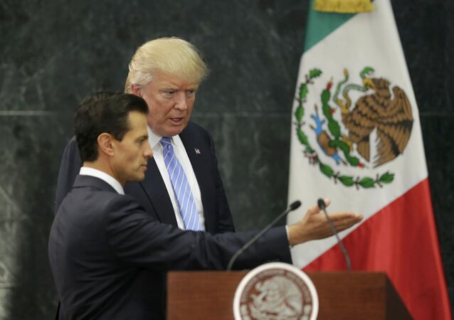 U.S. Republican presidential nominee Donald Trump and Mexico's President Enrique Pena Nieto arrive for a press conference at the Los Pinos residence in Mexico City, Mexico, August 31, 2016
