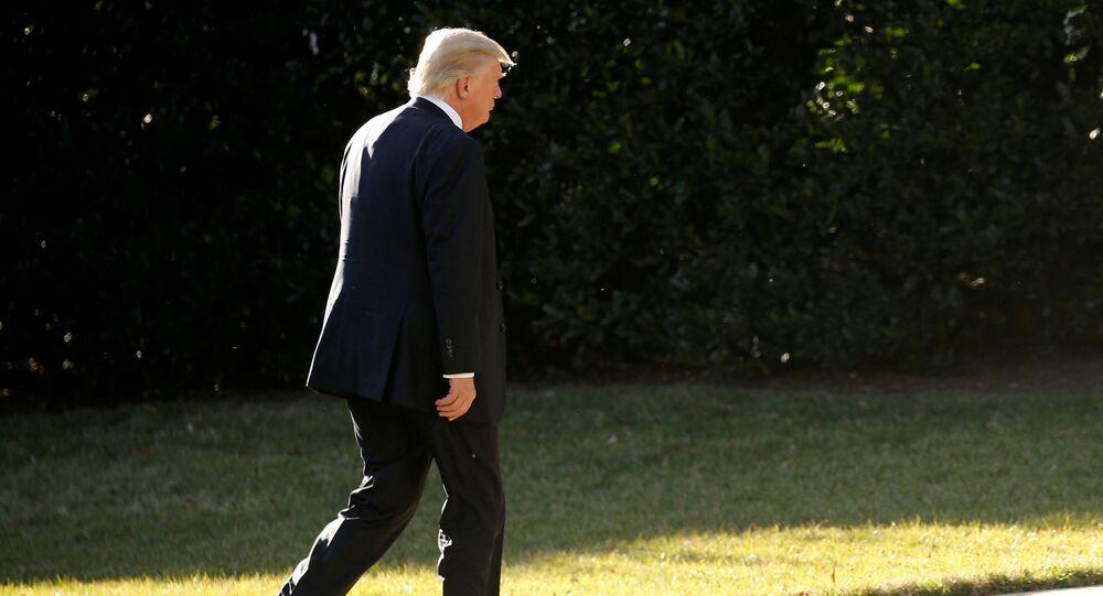 O presidente dos EUA, Donald Trump, volta à Casa Branca após uma visita ao Departamento de Segurança Interna dos Estados Unidos (arquivo)