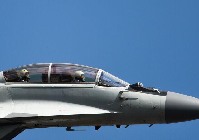 Caça russo MiG-35 durante apresentação em Moscou