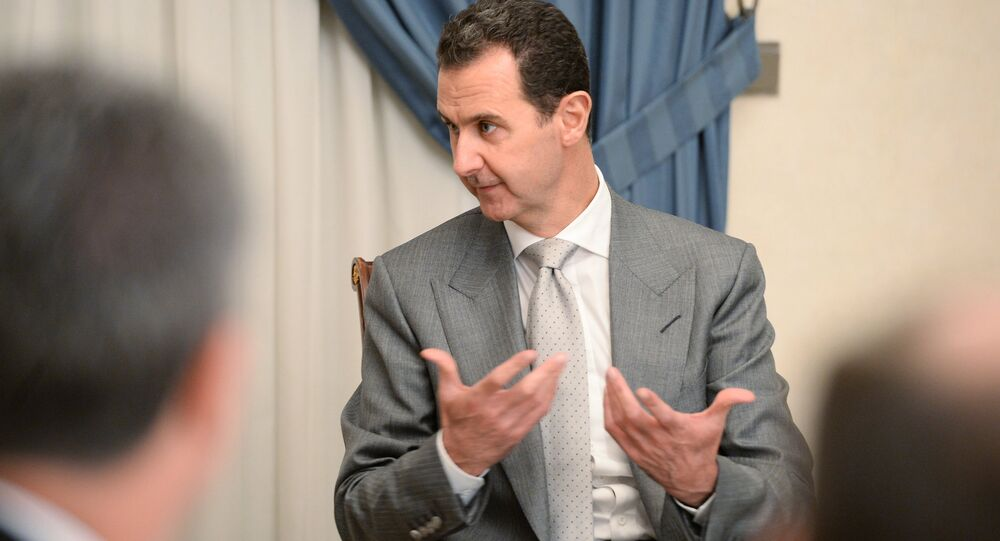 Bashar Assad durante um encontro com o vice-chefe do governo russo no início de 2017 em Damasco