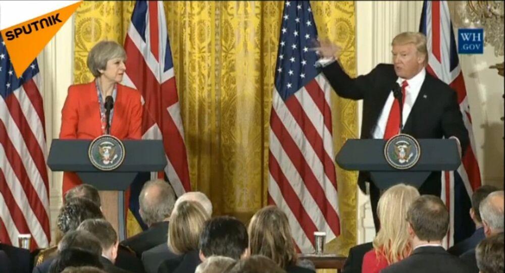 Conferência de imprensa conjunta de Theresa May e Donald Trump (arquivo)