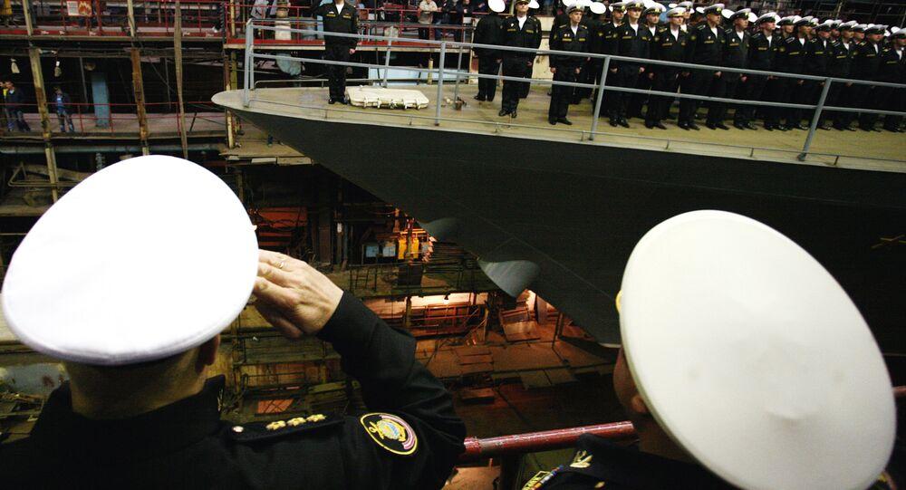Cerimônia do lançamento da corveta Sovershenny na cidade de Komsomolsk-no-Amur (região de Khabarovsk)
