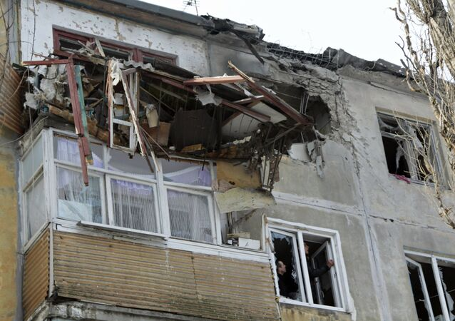 Situação depois dos bombardeios em Donetsk