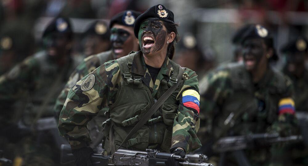 Militares venezuelanos em desfile militar (foto de arquivo)