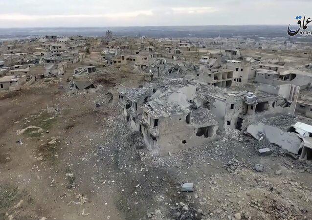 Vista aérea de um bairro de Al-Bab (foto de arquivo)