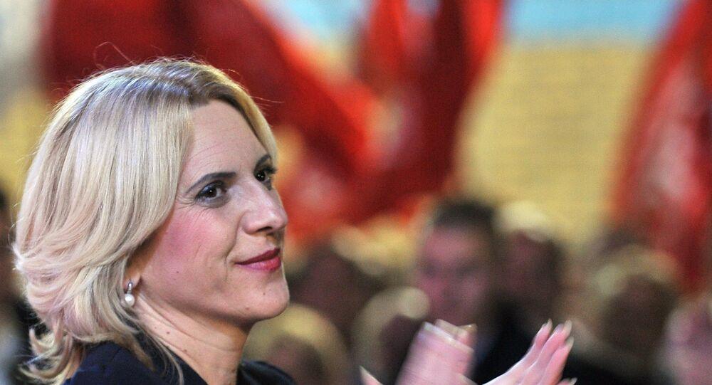 Zeljka Cvijanovic, membro do Partido Independente Social-Democrático da Sérvia