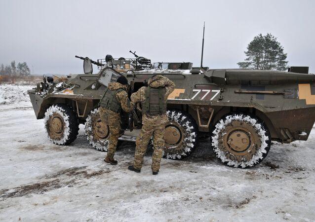 Veículo blindado das Forças Armadas da Ucrânia