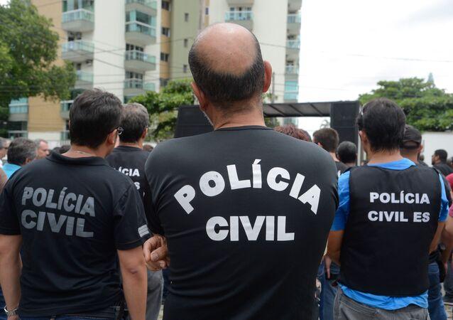 Policiais civis de Vitória, no Espírito Santo, durante paralisação na quarta-feira, 8 de fevereiro de 2017