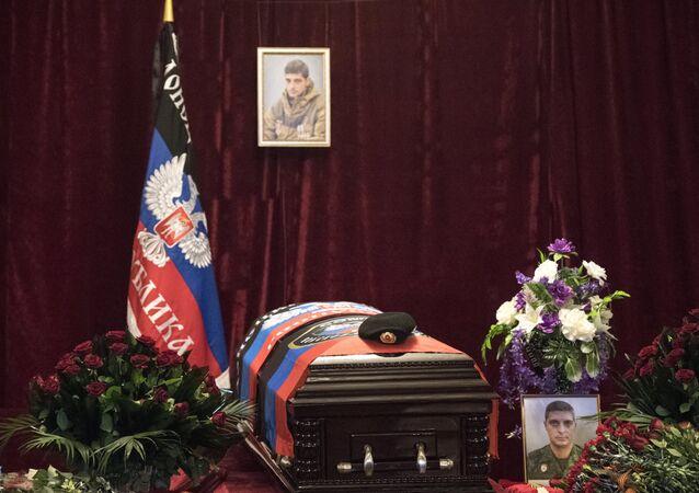 O funeral do famoso comandante Givi em Donetsk