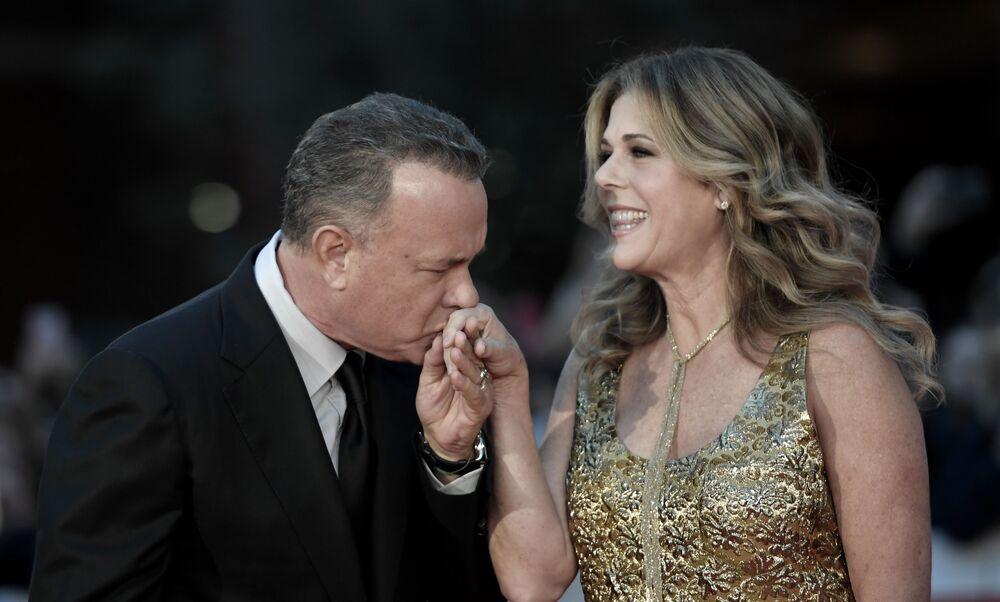 Ator americano Tom Hanks e sua esposa Rita Wilson