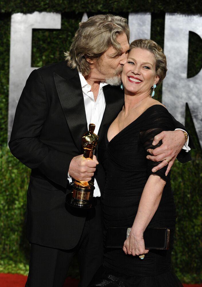 Ator americano Jeff Bridges e sua esposa Susan Geston