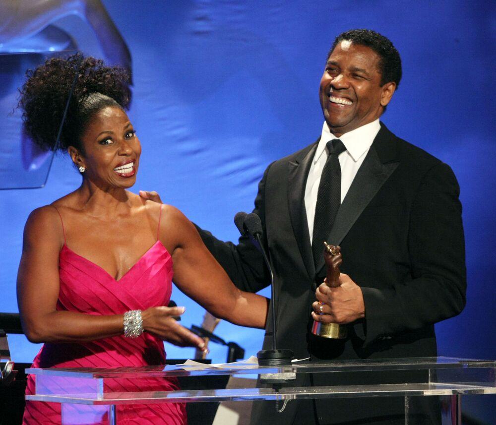 Ator americano Denzel Washington e sua esposa Paulette