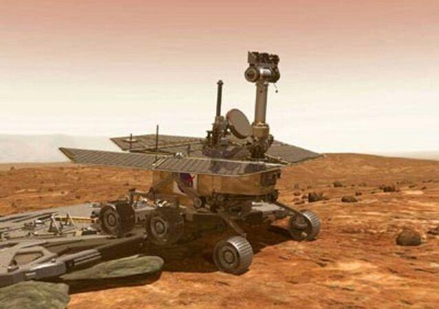 Imagem artística mostra o rover desembarcando após pouso seguro em Marte. Cientistas de Pasadena ouviram um sinal da sonda espacial norte-americana Spirit em 3 de janeiro de 2004, cerca de 20 minutos depois de ela pousar em Marte