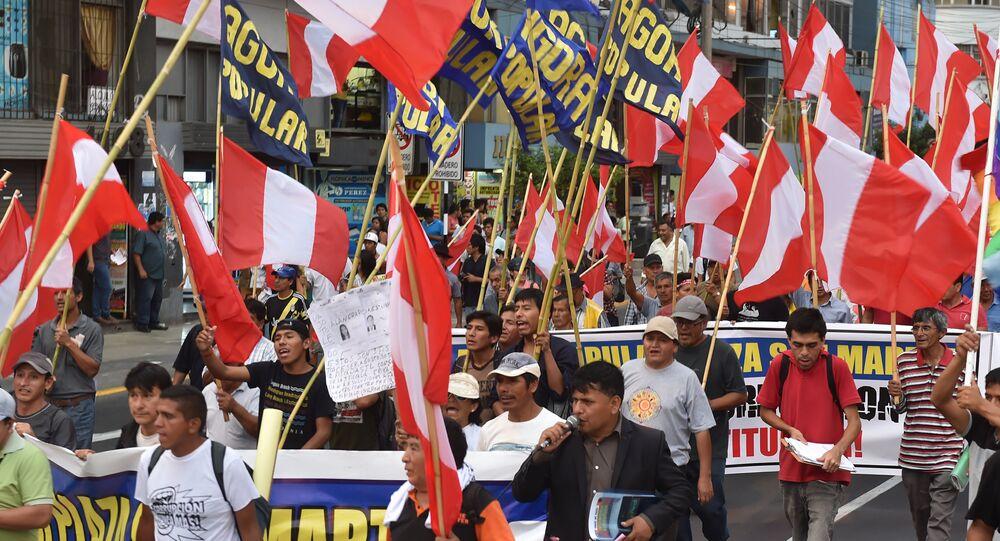 Manifestação contra a corrupção em Lima, no Peru