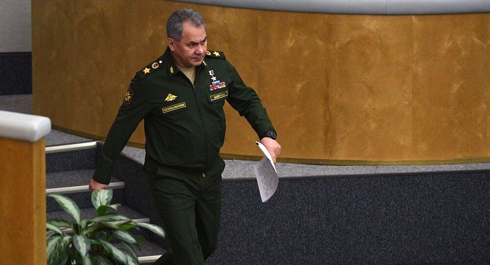 O ministro da Defesa da Rússia, Sergei Shoigu, durante o plenário da Duma de Estado em 22 de fevereiro de 2017