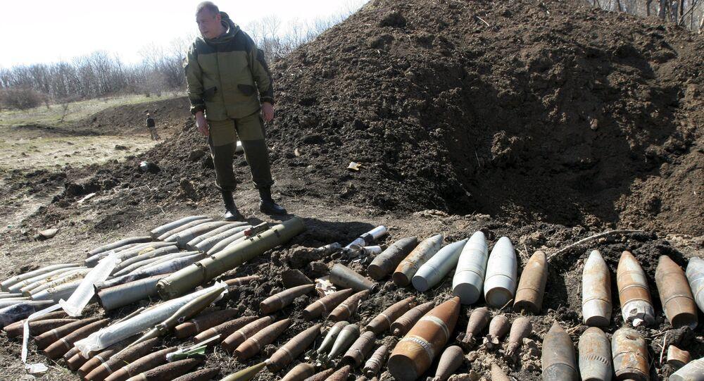Bombas não detonadas do exército ucraniano nos subúrbios de Donetsk