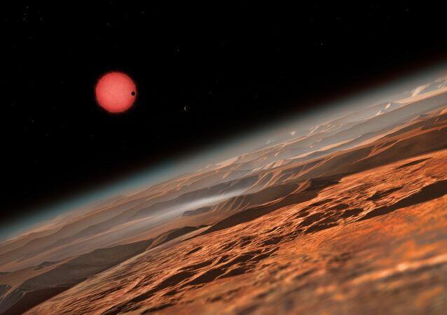 Um conceito abstrato do sistema TRAPPIST-1