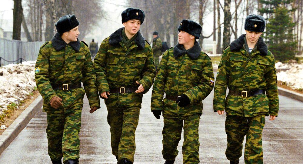 Militares da tropas paraquedistas na cidade russa de Pskov (arquivo)
