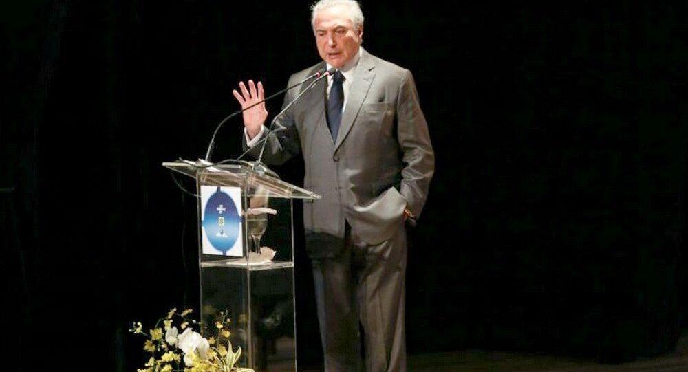 O presidente Michel Temer fala da reforma da Previdência durante o lançamento do programa Senhor Orientador, em Brasília