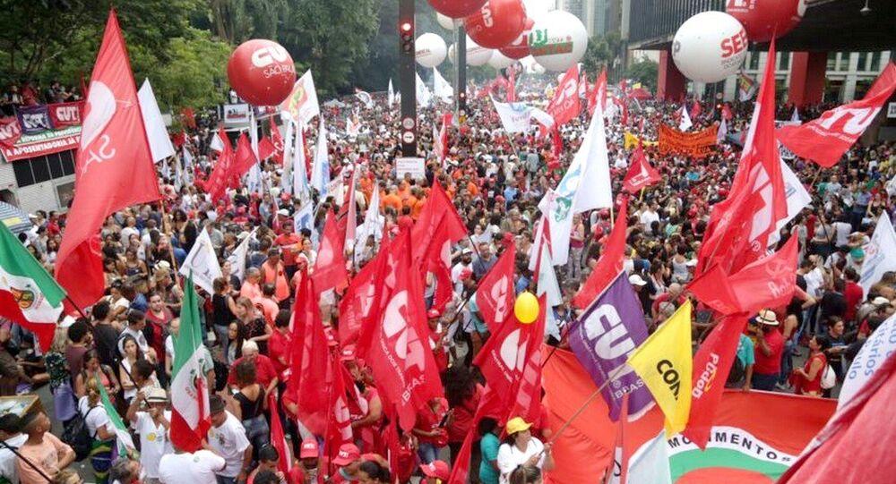 Manifestação contra proposta de mudança na Previdência na Avenida Paulista, São Paulo