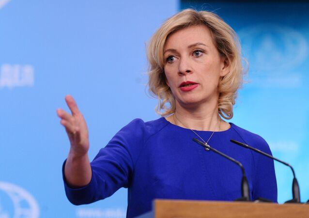 Entrevista coletiva da representante oficial da chancelaria russa, Maria Zakharova, em 16 de março de 2017