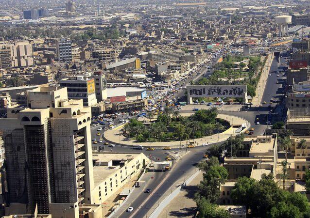 Vista aérea da Praça Tahrir, em Bagdá, Iraque