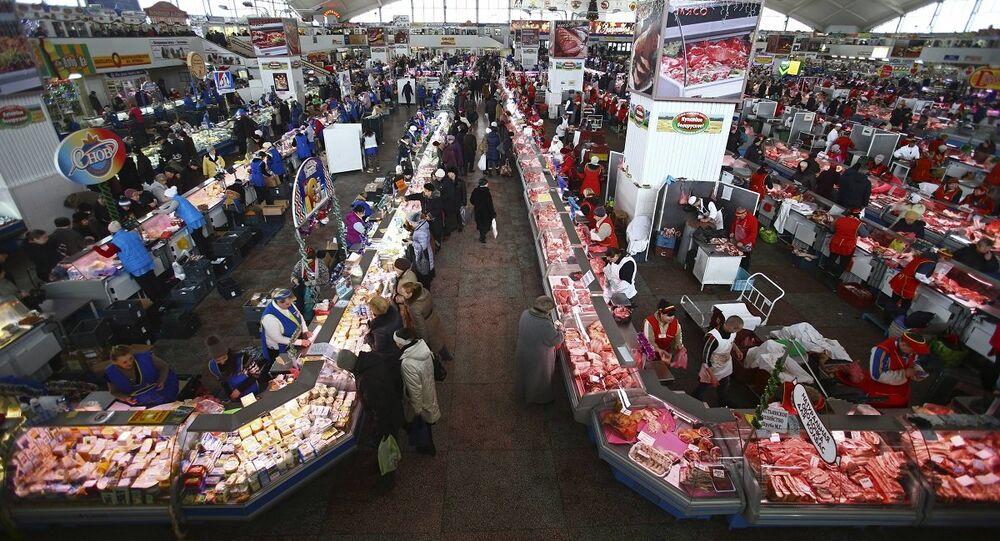 Mercado de carnes na Bielorrússia