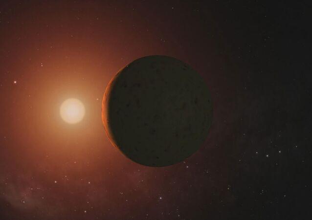 Visão artística dum planeta do sistema TRAPPIST-1 (imagem referencial)