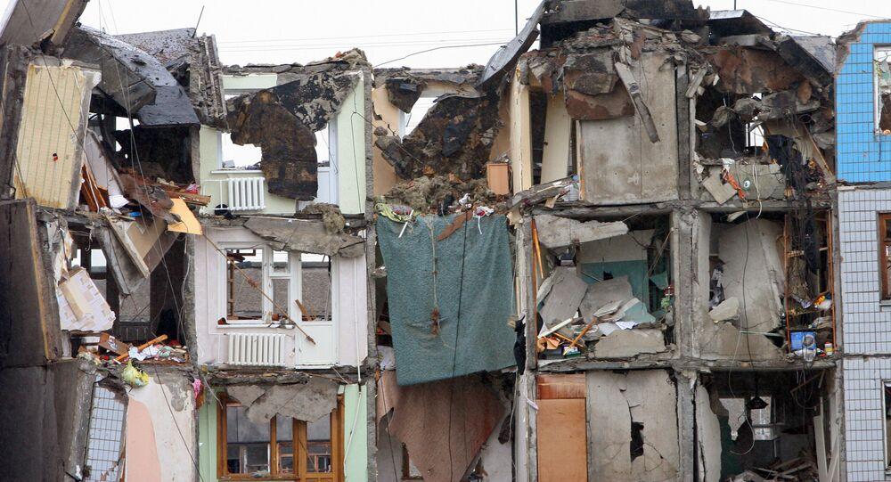 Uma casa destruída na cidade ucraniana de Dnepropetrovsk  (foto de arquivo)