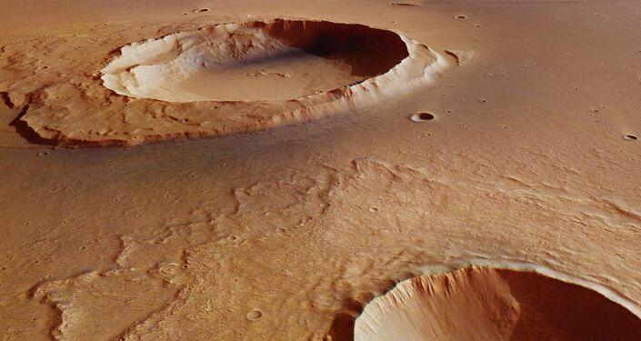 Imagen impressionante de rastros da catástrofe que afetou Marte 3.500 milhões de anos atrás. A forte inundação criou um canal de 3.000 quilômetros de longitude e de 25 quilômetros de largura