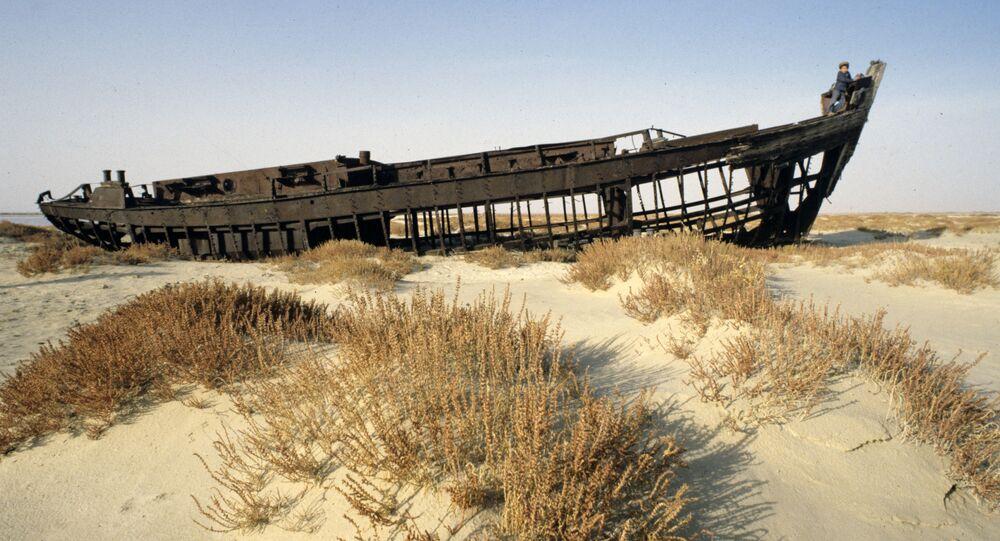Carcaça de navio de pesca numa área do mar de Aral que secou (imagem referencial)