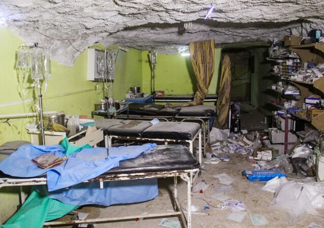 Destruições em um hospital na cidade de Khan Sheikhun no noroeste da província síria de Idlib, após o ataque químico em 4 de abril de 2107