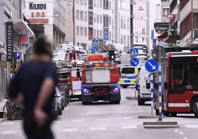 Serviços de emergência no local do acidente em Estocolmo (foto de arquivo)