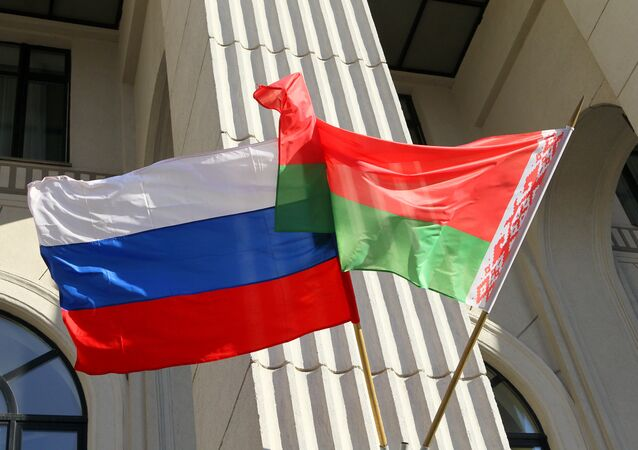 State colors of Russia and Belarus. (File)