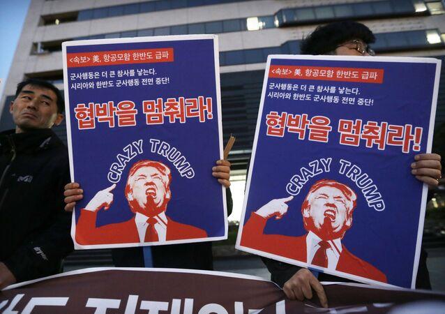 Protestos contra implementação do THAAD americano na Coreia do Sul, Seul, 12 de abril de 2017