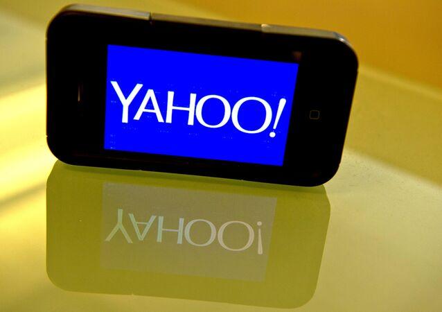 Logo do Yahoo em um smartphone
