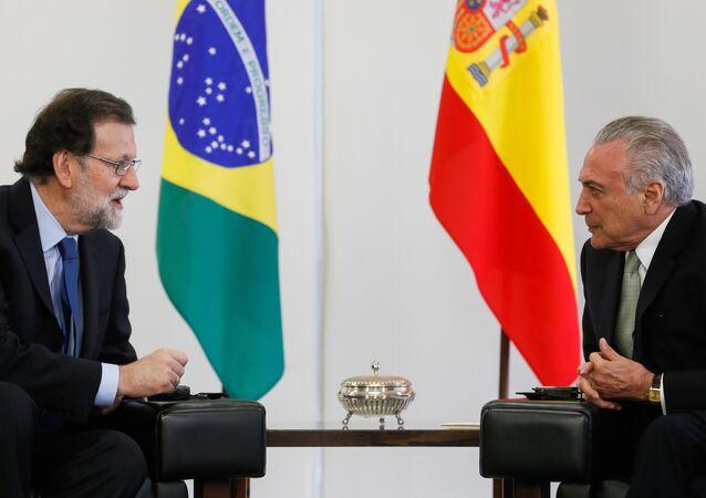 Mariano Rajoy conversa com Michel Temer sobre negócios, Venezuela e aproximação com União Europeia