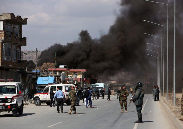 Explosão em Cabul, no Afeganistão, em março de 2017 (imagem referencial)