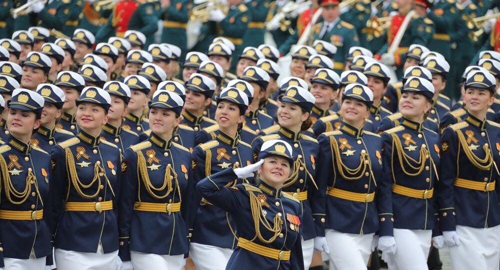 Oficiais femininas na Parada Militar dedicada ao 72º aniversário da Vitória na Grande Guerra pela Pátria na Praça Vermelha, 9 de maio de 2017
