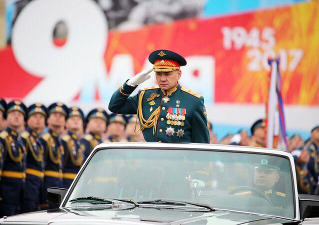 Ministro da Defesa da Rússia, Sergei Shoigu, durante a Parada Militar dedicada ao 72º aniversário da Vitória na Grande Guerra pela Pátria na Praça Vermelha, 9 de maio de 2017
