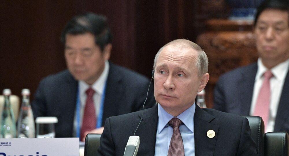 Vladimir Putin durante a primeira sessão do Fórum Um Cinturão, uma Rota na China, em 14 de maio de 2017