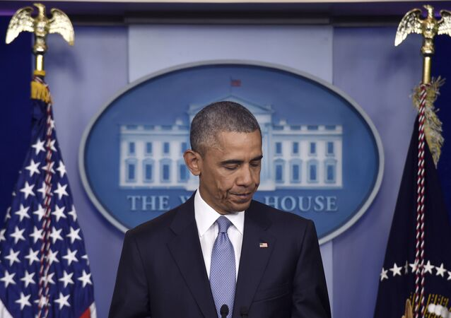 O presidente dos EUA, Barack Obama, durante o briefing de 23 de abril, expressa suas condolências às famílias de Warren Weinstein e Giuseppe Lo Porto