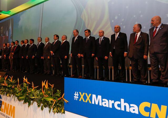 Presidente Michel Temer durante sessão solene de abertura da XX Marcha a Brasília em Defesa dos Municípios