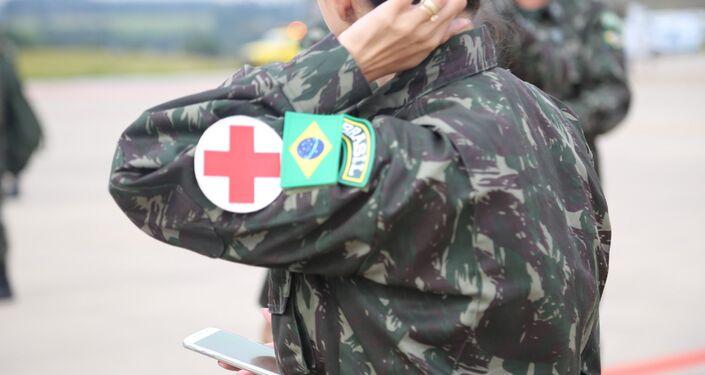 Soldado membro da equipe médica do BRABAT 26