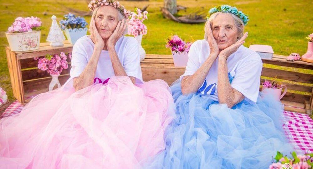 Paulina e Maria Pignaton Pandolfi, gêmeas de 100 anos do Espírito Santo