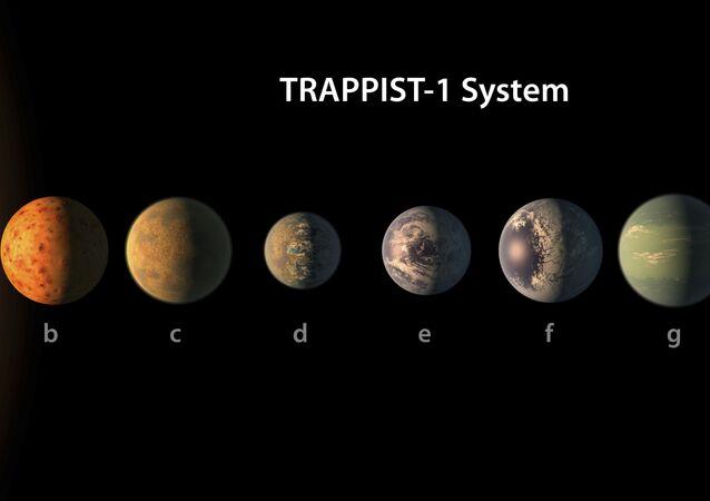Visão artistica do sistema planetária TRAPPIST-1