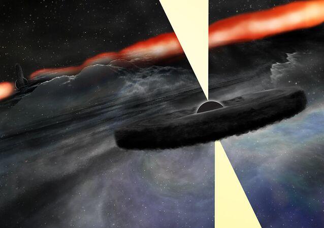 Ilustração conceptual do recém-descoberto segundo buraco negro supermassivo